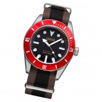 Fonderia Herren-Uhr P-8A002UNR Quarz Textil-Armband braun schwarz UAP8A002UNR