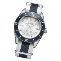 Fonderia Herren-Uhr P-8A002USB Quarz Textil Nylon-Armband weiß blau UAP8A002USB
