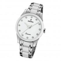 Festina Damen Armbanduhr F20499/1 Edelstahl Keramik silber weiß UF20499/1