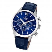 Festina Herren Armbanduhr Timeless Chronograph F20542/2 Leder blau UF20542/2