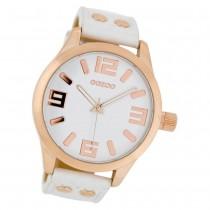 OOZOO Damenuhr weiß/rosegold 46mm, Uhr mit Leder-Armband UOC1150