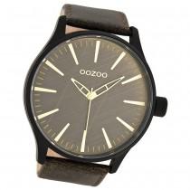 Oozoo Herren-Armbanduhr XL Timepieces Mineralglas Quarz Leder braun UOC7863