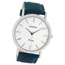 Oozoo Herren-Uhr Ultra Slim Quarzuhr Leder-Armband petrol grün UOC8116