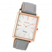 Oozoo Damen Armbanduhr rosegold Ultra Slim Quarz C8185 Lederarmband grau UOC8185