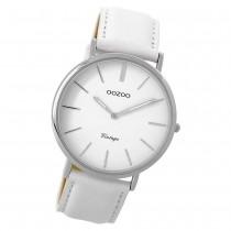 Oozoo Damen Armbanduhr silber Ultra Slim Quarz C9311 Lederarmband weiß UOC9311