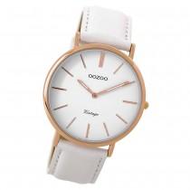 Oozoo Damen Armbanduhr rosegold Ultra Slim Quarz C9315 Lederarmband weiß UOC9315