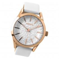 Oozoo Damen Armbanduhr rosegold Timepieces Quarz C9470 Lederarmband weiß UOC9470