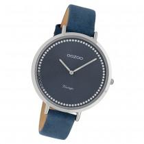 Oozoo Damen Armbanduhr Ultra Slim C9852 Quarzwerk Leder blau UOC9852