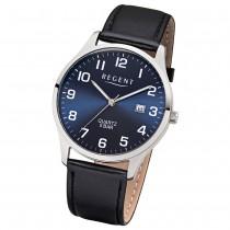 Regent Herren-Armbanduhr F-1240 Quarz-Uhr Leder-Armband schwarz UR1113409