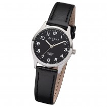 Regent Damen-Armbanduhr 32-2113416 Quarz-Uhr Leder-Armband schwarz UR2113416