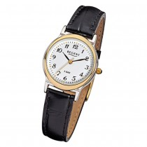 Regent Damen-Armbanduhr F-014 Quarz-Uhr Leder-Armband schwarz URF014