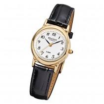 Regent Damen-Armbanduhr F-015 Quarz-Uhr Leder-Armband schwarz URF015