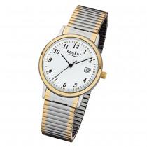 Regent Damen, Herren-Armbanduhr 32-F-1015 Edelstahl-Armband silber gold URF1015