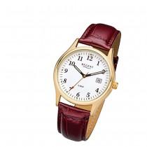 Regent Herren-Armbanduhr 32-F-1024 Quarz-Uhr Leder-Armband rot braun URF1024