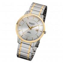Regent Herren-Armbanduhr 32-F-1046 Quarz-Uhr Edelstahl-Armband silber gold URF1046