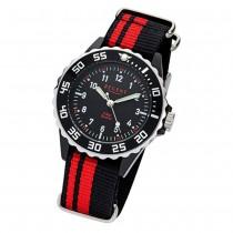 Regent Kinder, Jugend-Armbanduhr 32-F-1124 Textil, Stoff-Armband schwarz rot URF URF1124