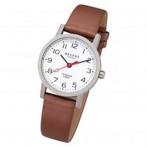 Regent Damen Armbanduhr Analog F-1213 Quarz-Uhr Leder braun URF1213