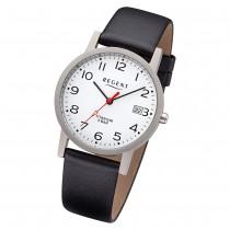 Regent Herren Armbanduhr Analog F-1225 Quarz-Uhr Leder schwarz URF1225