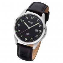 Regent Herren Armbanduhr Analog F-1227 Quarz-Uhr Leder schwarz URF1227
