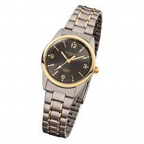 Regent Damen-Armbanduhr Mineralglas Quarz Titan grau silber gold URF429