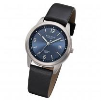 Regent Herren Armbanduhr Analog F-682 Quarz-Uhr Leder schwarz URF682