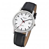 Regent Damen Herren-Armbanduhr Mineralglas Quarz Leder schwarz URF794