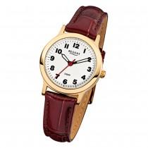 Regent Damen-Armbanduhr F-825 Quarz-Uhr Leder-Armband braun URF825
