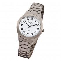 Regent Herren-Armbanduhr Mineralglas Quarz Titan (Metall) grau silber URF837