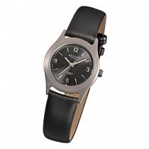 Regent Titan Damen-Armbanduhr Quarzwerk Leder schwarz Titan-Uhr URF872