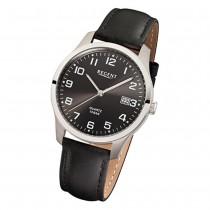 Regent Herren-Armbanduhr F-932 Titan Quarz-Uhr Leder-Armband schwarz URF932