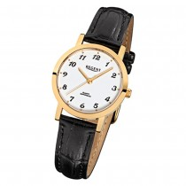 Regent Damen-Armbanduhr F-934 Quarz-Uhr Leder-Armband schwarz URF934