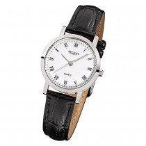 Regent Damen-Armbanduhr F-935 Quarz-Uhr Leder-Armband schwarz URF935