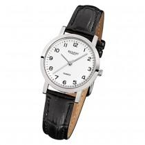 Regent Damen-Armbanduhr F-936 Quarz-Uhr Leder-Armband schwarz URF936