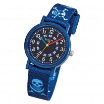 Regent Kinder-Armbanduhr Pirat Mineralglas Quarz Textil blau URF951