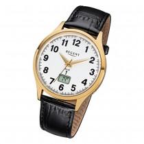Regent Herren-Armbanduhr FR-229 Funkuhr Leder-Armband schwarz URFR229