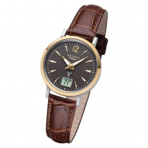 Regent Damen Armbanduhr Analog-Digital FR-257 Funk-Uhr Leder braun URFR257