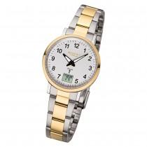 Regent Armbanduhr Analog Digital FR-258 Funk-Uhr Metall gold silber URFR258