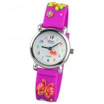 Tee-Wee Kinderuhr lila Schmetterling 3D Kautschukband Kinder Uhren UW985V
