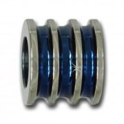 Amello Megabeads Edelstahl Bead gerillt blau Armbandbead AMB223B