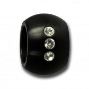 Amello Megabead Stahl Kugel schwarz Swarovski Elements Armband AMZ025S