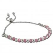 Armäleon Damenarmband Komplettset Kugeln rosa Design+Verschluss 925er ARS002A