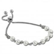 Armäleon Damenarmband Komplettset Perlen weiß Design+Verschluss 925er ARS011W