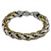 Amello Edelstahl Armband geflochten vergoldet Herren Edelstahlschmuck ESAC01Y2