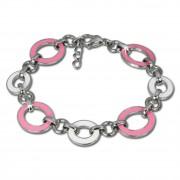 Amello Armband Oval Emaille rosa/weiß Damen Edelstahlschmuck ESAG01P