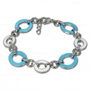 Amello Armband Oval Emaille türkis/weiß Damen Edelstahlschmuck ESAG01T