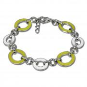 Amello Armband Oval Emaille gelb/weiß Damen Edelstahlschmuck ESAG01Y