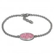 Amello Edelstahl Armband Oval 18cm rosa Damen Stahlschmuck ESAS01A