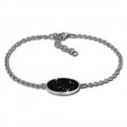 Amello Edelstahl Armband Oval 18cm schwarz Damen Stahlschmuck ESAS01S