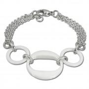 Amello Armband Keramik 3 Ringe weiß Damen Edelstahlschmuck ESAX05W
