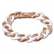 Amello Armband Keramik Panzer weiß rosevergoldet Edelstahlschmuck ESAX20W0